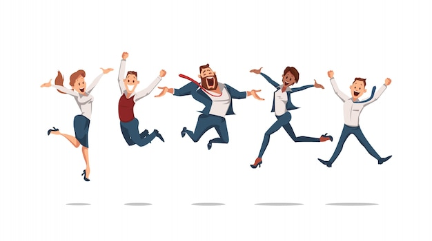 Blije kantoormedewerkers springen omhoog