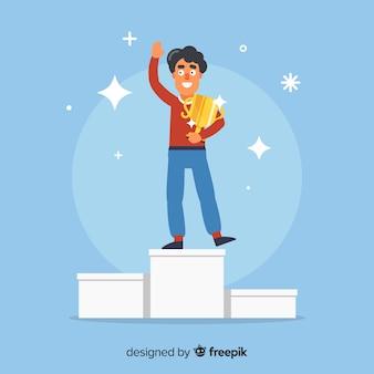 Blije karakter winnende prijs met plat ontwerp