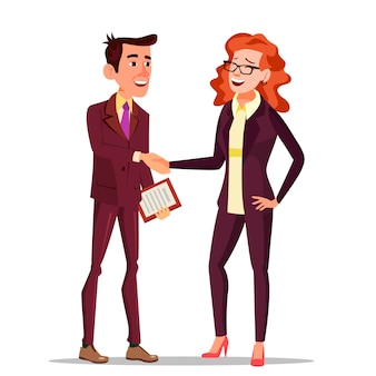 Blije klant. bedrijfsconcept. pak. partners en klanten.