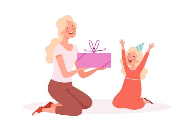 Blije meid. vrouw cadeau geven aan dochter, verjaardagsfeestje. familie feestelijke, schattige cartoon moeder en klein kind vectorillustratie. vrouw cadeau aan dochter, verjaardag vakantie jeugd