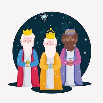 Blije openbaring, wijze mannen met geschenkdoos voor de geboorte van baby jezus