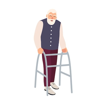 Blije oudere man met looprek of rollator geïsoleerd. oude, bebaarde mannelijke personage met een lichamelijke handicap of handicap