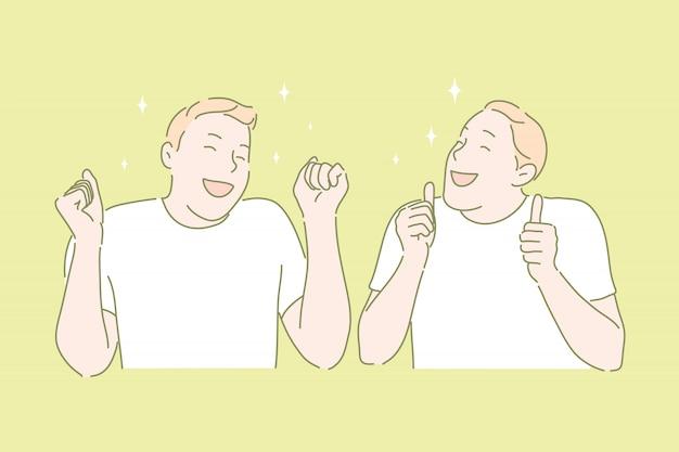 Blije stemming, gelukkig persoon, winnaars gebaren concept
