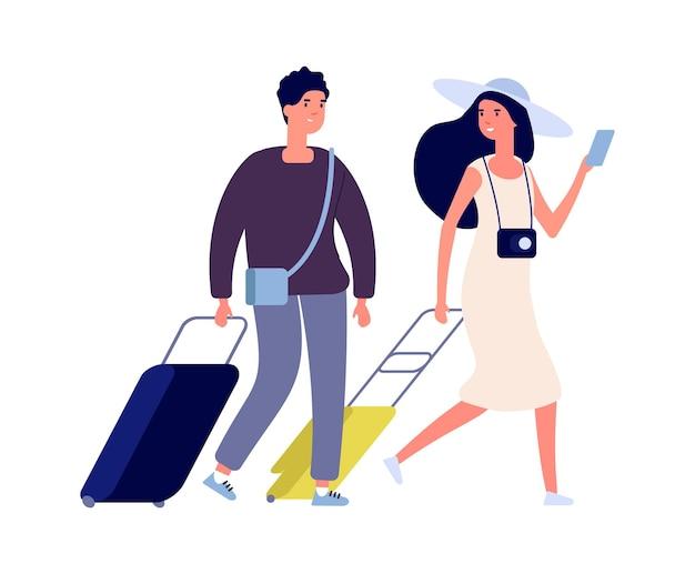 Blije toeristen. zomervakantie, weekend reizen paar met koffers. platte vrouw man met tassen vector tekens. mensen reizen, levensstijlreiziger met kofferillustratie