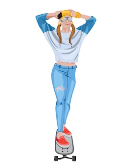Blije vrouw gekleed in gescheurde spijkerbroek, blauw shirt, pet, zonnebril, gouden armbanden en rode sneakers op een skateboard