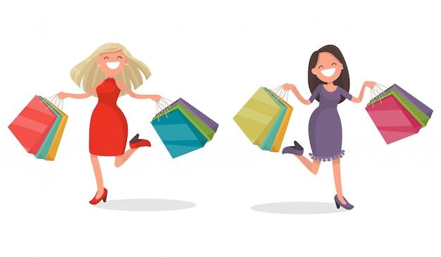 Blije vrouw met winkelen.