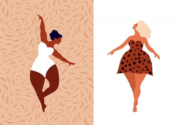 Blije vrouwen. lichaam positief, hou van jezelf, je lichaamsconcept. vrouwelijke vrijheid, meisjesmacht of internationale vrouwendagillustratie.