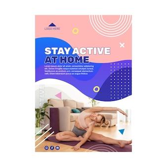 Blijf actief concept flyer sjabloonontwerp