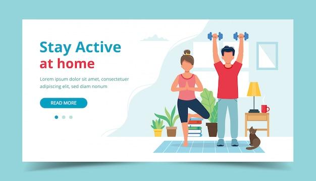 Blijf actief thuis concept. mensen doen oefening in gezellige, moderne interieur