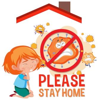 Blijf alsjeblieft thuis banner met kinderen en geen virusteken