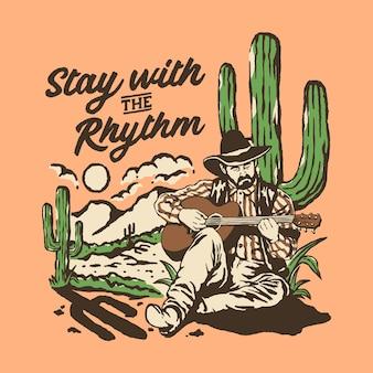 Blijf bij de ritme-cowboy-illustratie