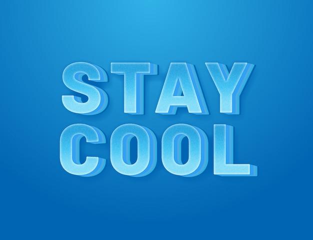 Blijf cool 3d eenvoudig bewerkbaar lettertype-effect