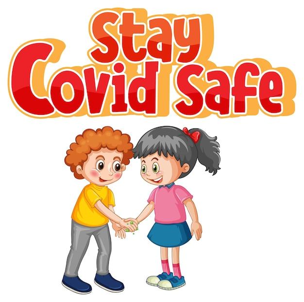 Blijf covid veilige illustratie in cartoonstijl met twee kinderen houdt geen sociale afstand geïsoleerd op wit
