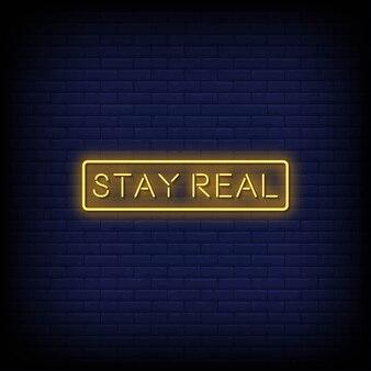 Blijf echte neonreclamestijltekst