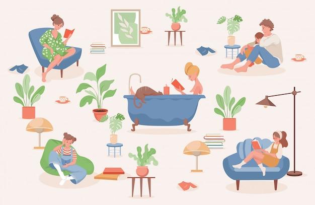 Blijf en ontspan thuis vlakke afbeelding. mensen brengen weekend samen thuis door.