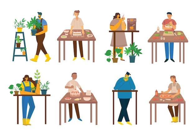 Blijf en werk thuis. mensen die thuis blijven, doen verschillende activiteiten: koken, thuis tuinieren lezen. kleurrijke moderne illustratie collage