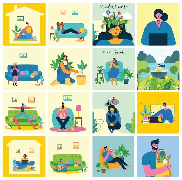 Blijf en werk thuis. mensen die thuis blijven doen verschillende activiteiten: op de bank zitten, springen, werken, feesten, spelen, sporten, thuis lezen. kleurrijke moderne illustratie collage in vlakke stijl.