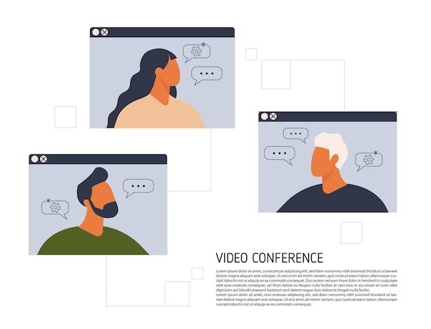 Blijf en werk vanuit huis videoconferentie illustratie
