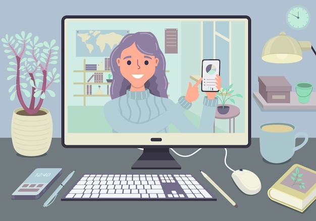 Blijf en werk vanuit huis videoconferentie vergaderconcept. werkplek met computerscherm groep mensen praten via internet. webcommunicatie. stream en webinar. zakelijke team dat online werkt.