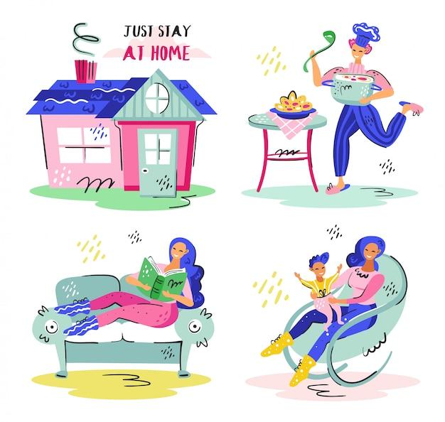 Blijf gewoon thuis. huis, huismeester, moederzorg. coronavirus pandemische zelfisolatie, gezondheidszorg, bescherming. plat kleurrijke vector illustratie pictogram sticker geïsoleerd op een witte achtergrond.
