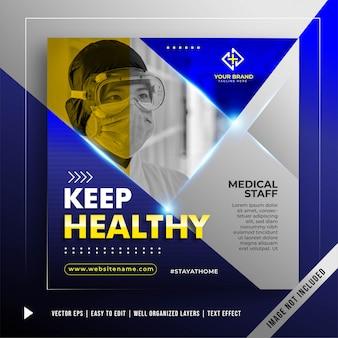 Blijf gezond banner promotie sjabloon
