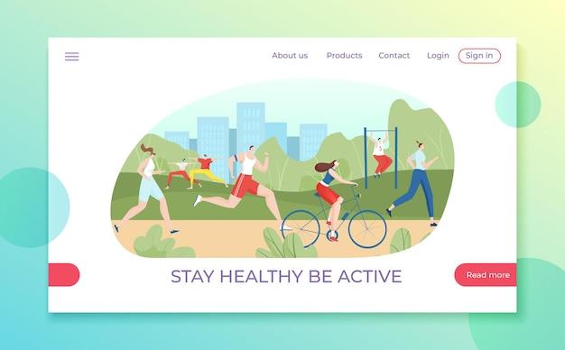 Blijf gezond en wees een actieve moderne stadsburger op de bestemmingspagina