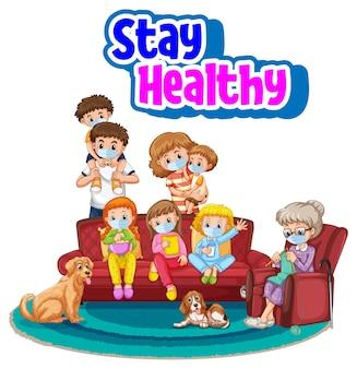 Blijf gezond lettertype met alle leden van de familie die een geïsoleerd masker dragen