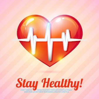 Blijf gezonde kaart. gezonde levensstijl met hartslag vectorillustratie