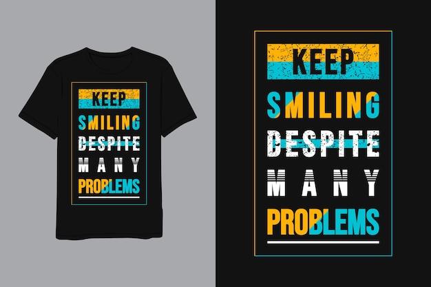 Blijf glimlachen ondanks veel problemen, belettering geel blauw minimalistische moderne eenvoudige stijl