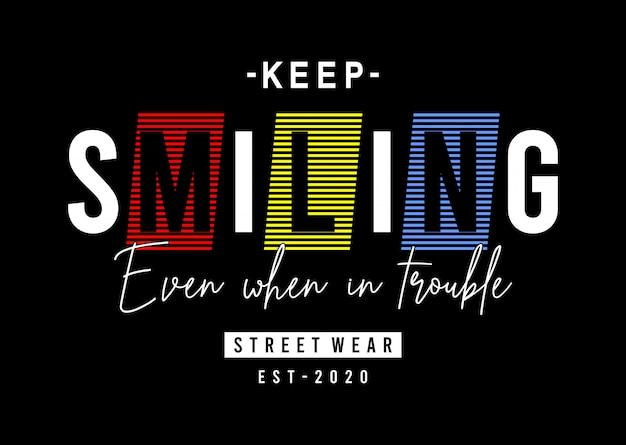 Blijf glimlachend typografie meisje