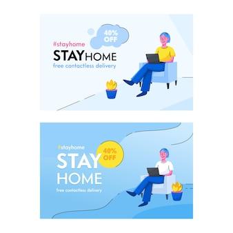 Blijf home concept. bewustwording van sociale mediacampagne en coronaviruspreventie.