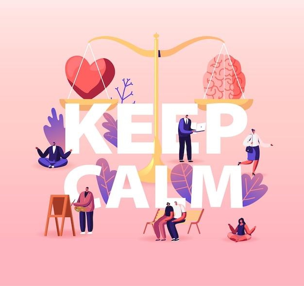 Blijf kalm concept. hart en hersenen liggend op een weegschaal. tekens zoeken balans in liefde, intelligentie en logica. Premium Vector