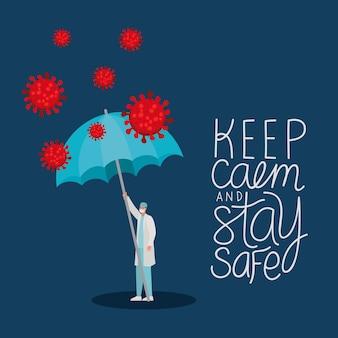 Blijf kalm en blijf veilig belettering en mannelijke arts met één veiligheidsmasker, rode deeltjes en één paraplu-afbeeldingontwerp