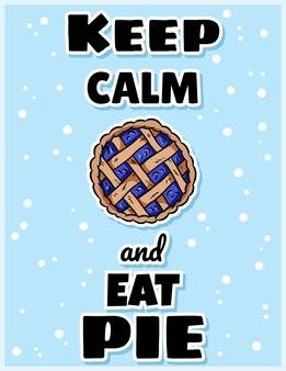 Blijf kalm en eet taart leuke gezellige ansichtkaart met bessentaart. handgemaakt bovenaanzicht gebak. hygge feestelijke herfstprint