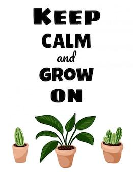 Blijf kalm en groei op ansichtkaart. gezellige lagom scandinavische stijl poster