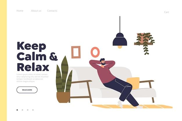 Blijf kalm en ontspan de bestemmingspagina met de man die ontspant op de bank in de woonkamer.