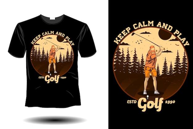 Blijf kalm en speel golf retro vintage design