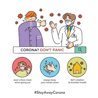 Blijf kalm raak niet in paniek corona virus covid-19 veiligheidscampagne eenvoudige doodle illustratie