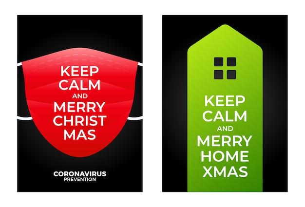 Blijf kalm, vrolijk thuiskerstmis. geïllustreerde kerst poster logo pictogram huis en gezichtsmasker.