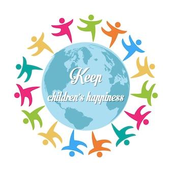 Blijf kinderen geluk groep kinderen over de hele wereld