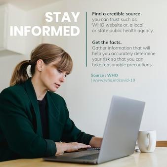 Blijf op de hoogte en krijg de feiten tijdens de coronavirus pandemie sociale sjabloon bron who vector