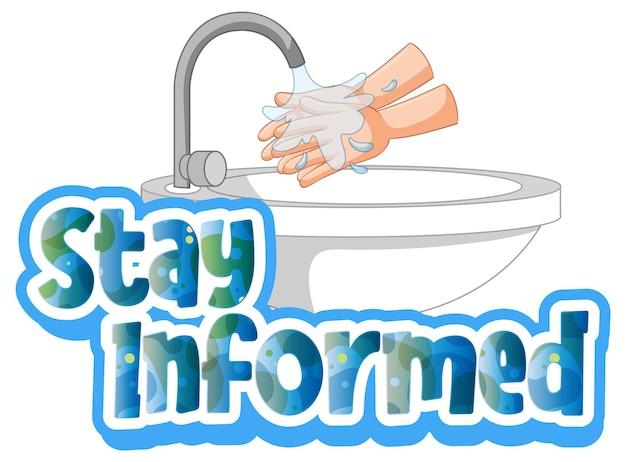 Blijf op de hoogte lettertype in cartoon-stijl met handen wassen door geïsoleerde watergootsteen