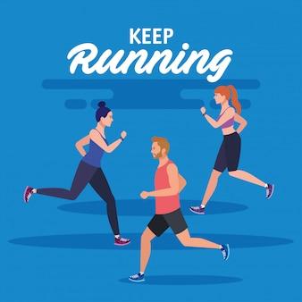 Blijf rennen, mensen rennen, groep mensen in sportkleding joggen