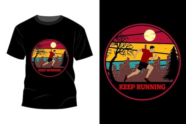 Blijf rennen t-shirt mockup ontwerp vintage retro
