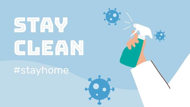 Blijf schoon en blijf veilig. man spuit alcohol om infectie met coronavirus te voorkomen