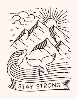 Blijf sterk walvis lijn illustratie