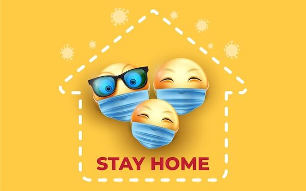 Blijf thuis 3d-emoji met gezichtsmasker vectorontwerp