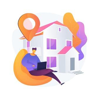 Blijf thuis abstract concept vectorillustratie. gedwongen isolatie, maatregelen ter voorkoming van uitbraken van covid19, sociale afstand, overheidssteun, zelfbescherming, draagmasker abstracte metafoor.
