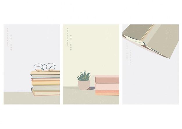 Blijf thuis achtergrond met grunge textuur. boeken over bureau-elementen. werk vanuit huis sjabloon met kopie ruimte in vintage stijl.