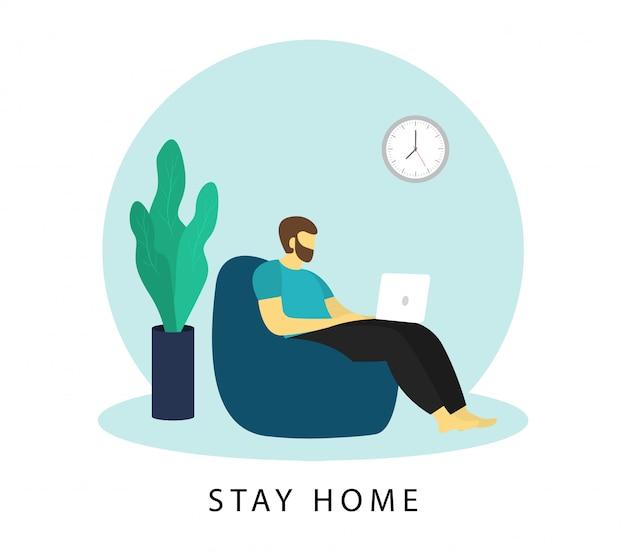 Blijf thuis banner. man werkt op een laptop. freelance. afstandswerk.